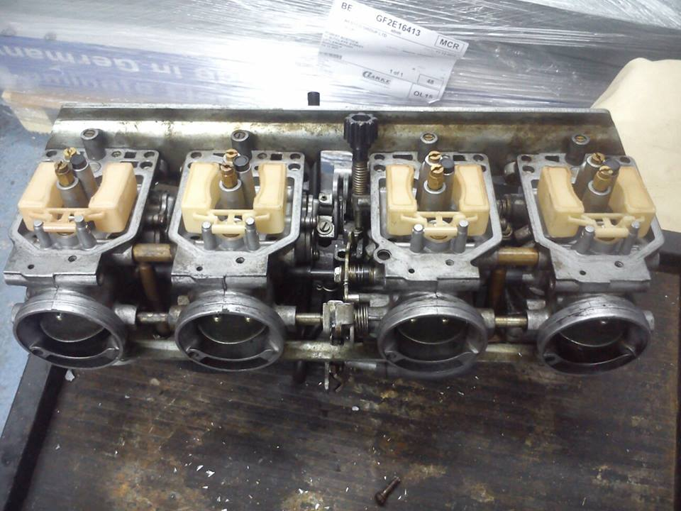 bank of 4 carburettors cleaned in a 20 Litre ultrasonic cleaner