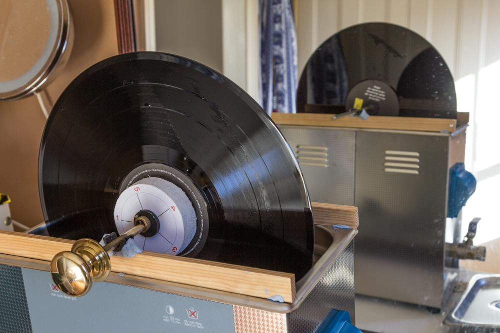 image of vinyl record in an ultrasonic cleaner - click for link to a blog entry on record cleaning