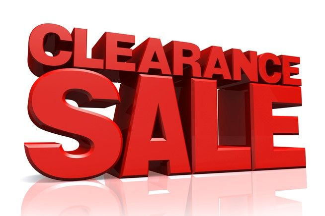 large red wording saying clearance sale