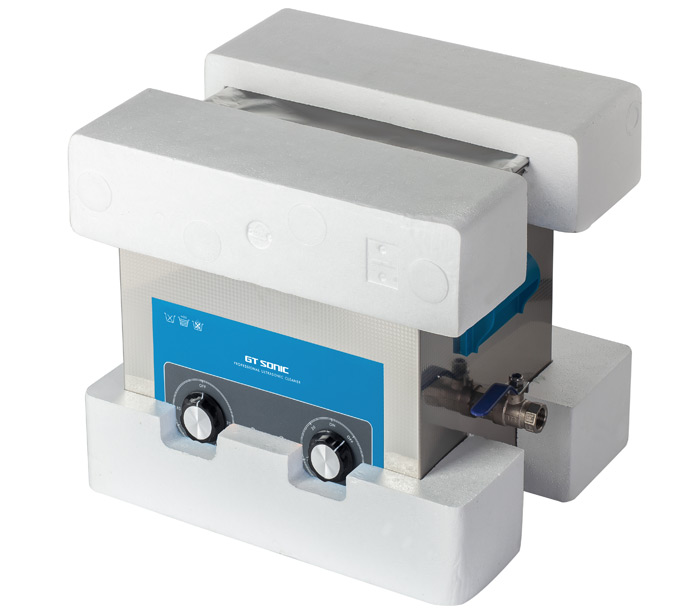 image of an ultrasonic cleaner in polystyrene packaging