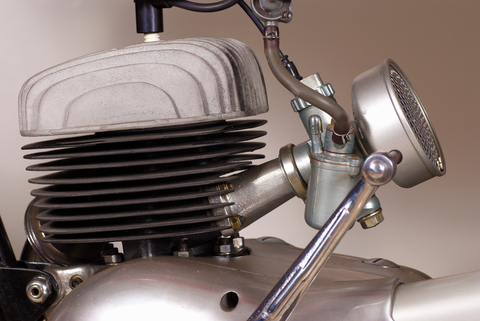 photo of a vintage BSA Bantam engine and carburettor