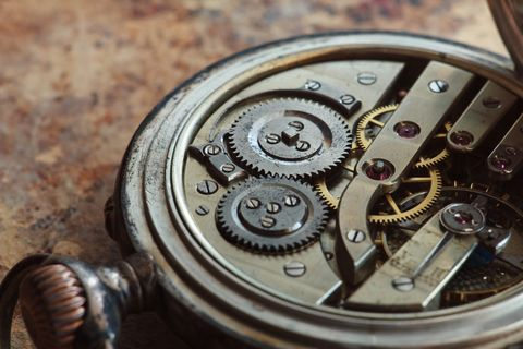 photo showing inside an old pocket watch