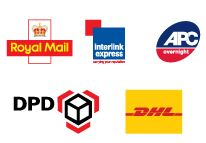 image of delivery company logos. royal mail, interlink express, apc, dpd, dhl.