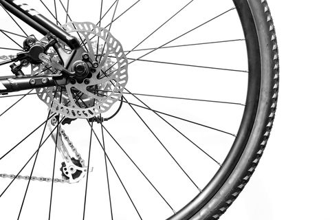 rear wheel of a mountain bike and a cassette of gears