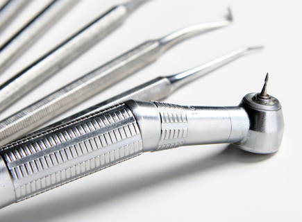 image of clean dental instruments including a dentist drill