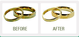 photo of a gold ring before and after being put in an ultrasonic jewellery cleaner