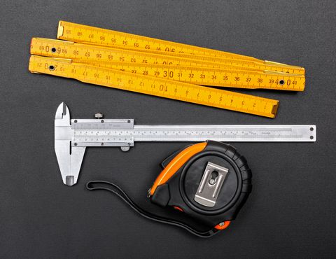 measuring tools such as a tape measure and vernier caliper