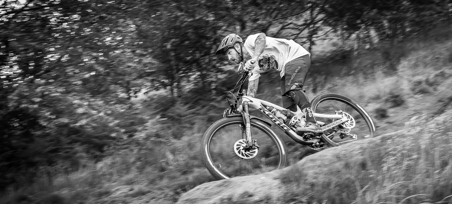 mountain bike travelling at speed downhill