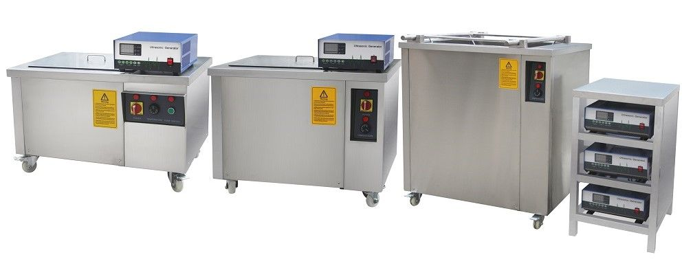 row of industrail ultrasonic cleaning tanks cleaners