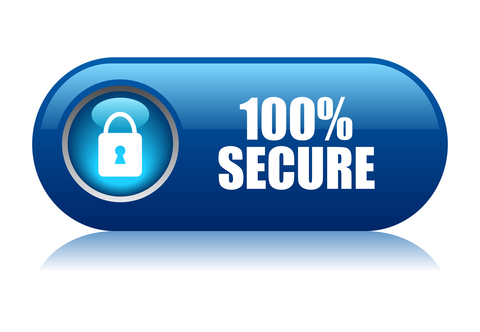 "buttonn that reads ""100 percent secure"""